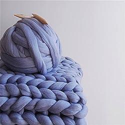 HomeModa Studio 100% Non-Mulesed Chunky Wool Yarn Big chunky Yarn Massive Yarn Extreme Arm Knitting Giant Chunky Knit Blankets Throws Grey White (0.5kg-1.1lbs, Violet)