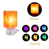 SMAGREHO Mini Hand Carved Natural Crystal Himalayan Salt Lamp night light with Normal Bulb and Multi Color Changing bulb (cylinder-shaped)