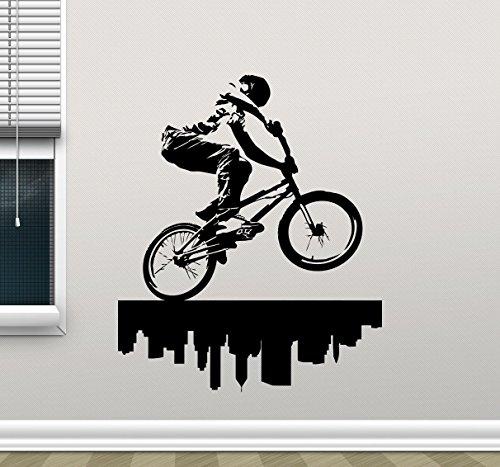 BMX Bike Trick Wall Decal Bicycler BMX Street Freestyle Extreme Sport Vinyl Sticker Bicycling Sport Teen Room Wall Decor Bicycle Wall Art Design Workout Wall Decor Mural 7thn