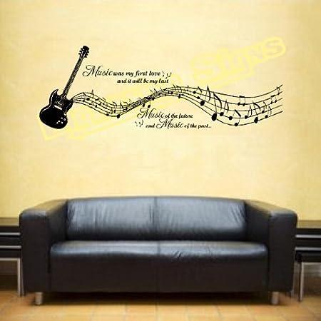 LightningSigns Music Notes Guitar Instrument Vinyl Sticker Wall Art ...