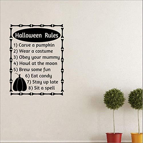 Wall Décor Wall Stickers Murals 56cmx73Cm Halloween Rules Words Letters Fall Halloween Decor Art PVC Wall Sticker -