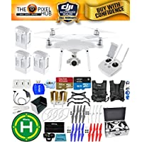 DJI Phantom 4 Advanced Drone MEGA Ready To Fly EXTREME ACCESSORY BUNDLE With 3 Batteires (Total), Vest Strap, Extra Props, Landing Pad, Filter Kit Plus Much More (Aluminum Case)
