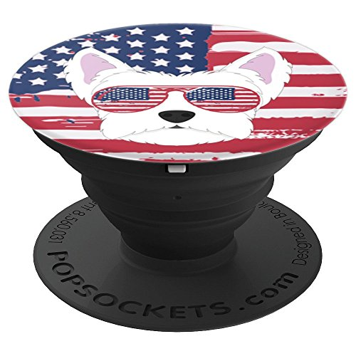 Proud Westie White Terrier Patriotic Dog Flag Sunglasses - PopSockets Grip and Stand for Phones and Tablets by MezziPopz