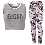 NEW GIRL'S BROOKLYN 85 NEW YORK SQUAD NYC CROP TOP LEGGINGS 2 PIECE SET AGE 7-13 YEARS (13 Years, Squad Pink Camo)