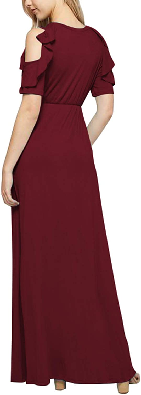 Meenew Womens Summer Maxi Dresses Beach Vacation High Slit Long Bodycon Dress