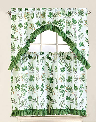"""Sapphire Home 3 Piece Kitchen Curtain Linen Set with 2 Tiers 28"""" W (Total Width 56"""") x 36"""" L and 1 Swag Valance 56"""" W x 36"""" L, Mint Savory Rosemary Leaf Design Green Kitchen Curtain Décor Linen"""