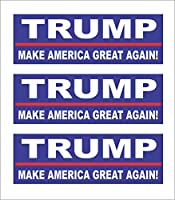 "3 Trump 2016, Make America Great Again! Hard Hat Motorcycle Biker Helmet Stickers 1"" X 3"" from Sticker Tiger"