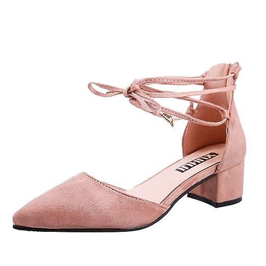 Sandalias de Tiras de Color sólido de tacón Medio Zapatos de Mujer Moda para Mujer Punta Estrecha Tacón Cuadrado Mocasines Ocasionales Zapatos Sandalia ...