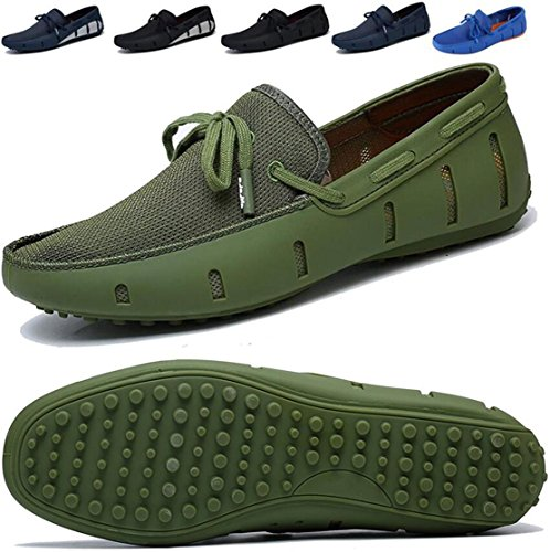 Go Tour Mens Fashion Casual Boat Shoes Breathable Slip on Shoes Green ()
