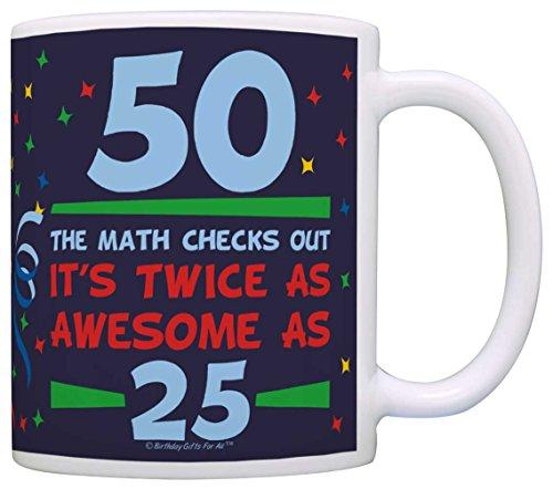 Birthday Gifts For All 50th Birthday Twice as Awesome Birthday Gag Gift Coffee Mug Tea Cup Blue (Beer Mug Glass Birthday 50th)