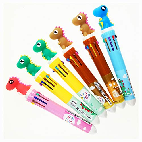 6 Pack 0.5mm 10-in-1 Multicolor Retractable Ballpoint Pen,10-Color Gel Multicolor Pens for Office School Supplies Students Children Gift(Dinosaur)