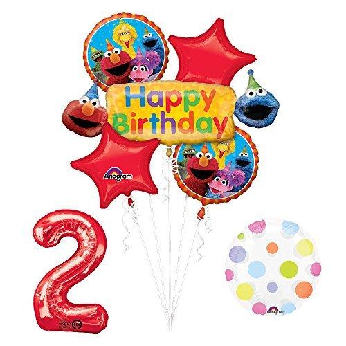 Elmo and Friends Sesame Street 2nd Birthday Supplies Decorations Balloon -