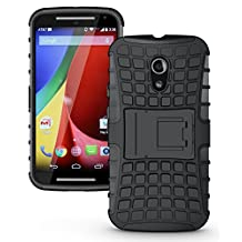 JKase DIABLO Tough Rugged Dual Layer Protection Case Cover with Build in Stand for Motorola Moto G (2nd Gen 2014 Released ONLY) - Retail Packaging (Black)