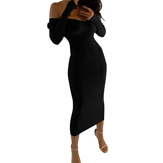 Review HITRAS 2018 Women Sexy Elegant V Neck Off Shoulder Solid Long Sleeve Bodycon Maxi Dress