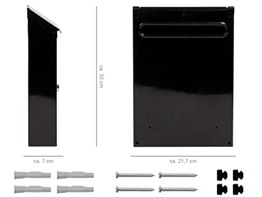 Alsino Briefkasten Postkasten Wandbriefkasten Stahlbriefkasten pulverbeschichtet Befestigungsmaterial inklusive BRK 66007 2 Schl/üsseln schwarz