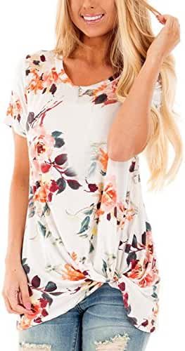 Dokotoo Womens Summer Casual Short Sleeve Floral Knot Blouse Tops for Juniors Shirts