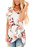 Dokotoo Womens Summer Sexy Fashion Floral Tops and Blouses for Juniors White Large