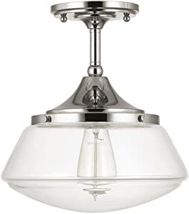 Home Decorators Collection 1-Light Polished Nickel Vintage Schoolhouse Semi-Flush Mount Light with Clear Glass Shade - No Bulbs Included