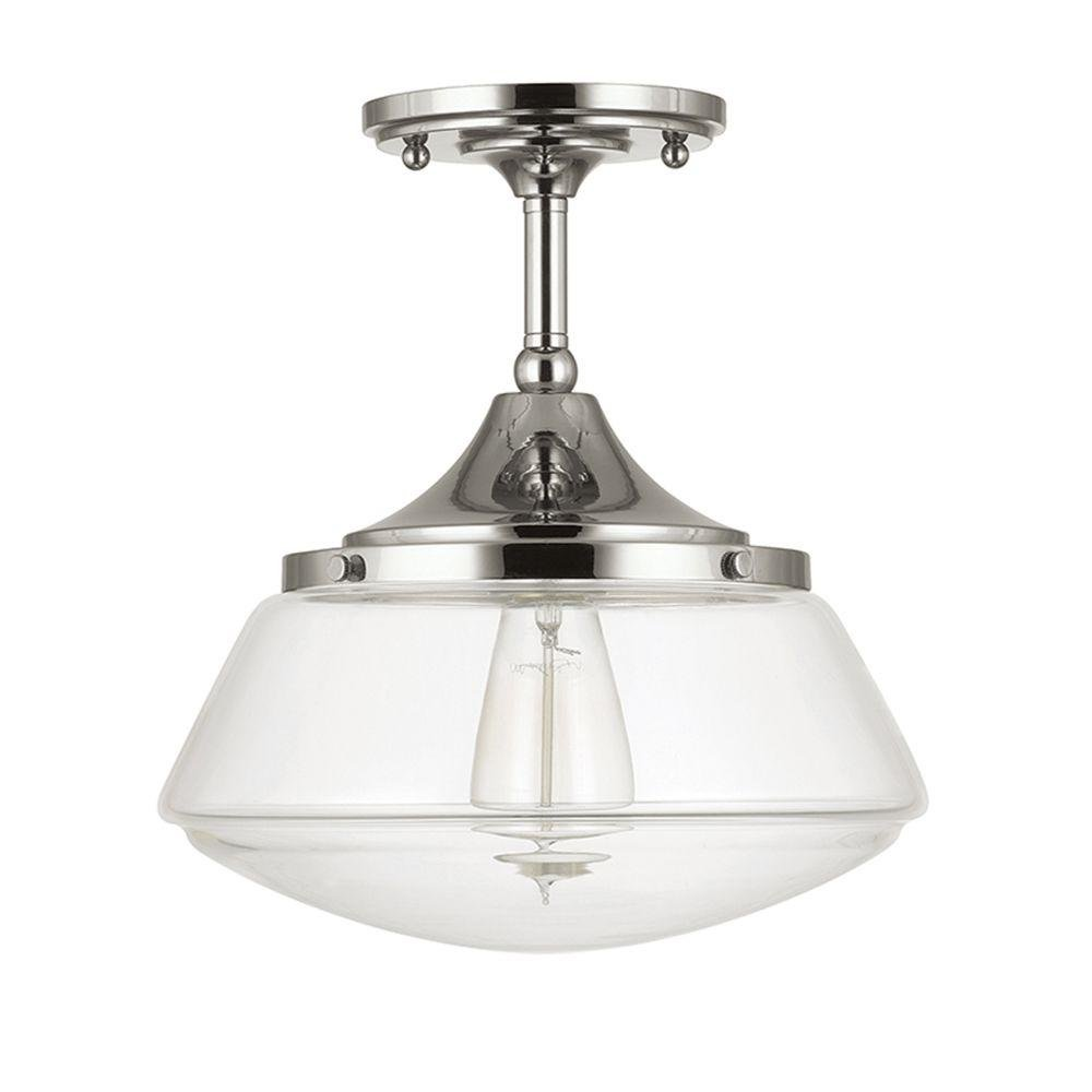 Home decorators collection 1 light polished nickel vintage schoolhouse semi flush mount light with clear glass shade no bulbs included amazon com