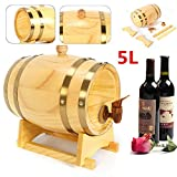 5L Whisky Red Wine Oak Barrel Keg Wine Spirits Port Liquor Wood French Toasted Wine Barrels Brewing Equipment