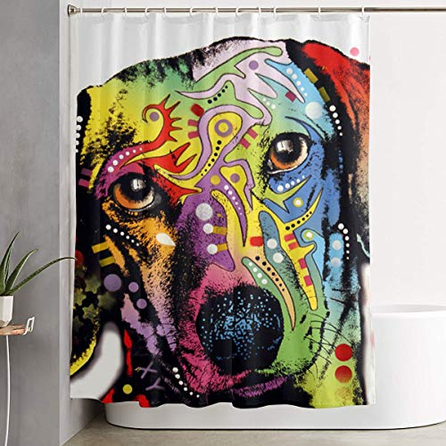 60 X 72 Inch 3-Dachshund-Dean-Russo Bath Curtains, Shower Curtain Collection - Water Soap and Mildew Resistant