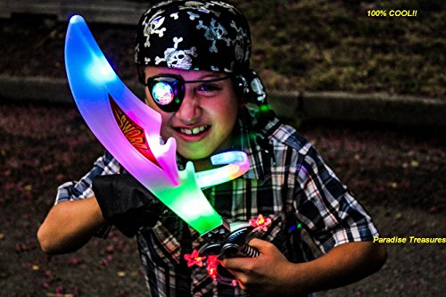 [Pirate Costume for kids with Light up Buccaneer sword,LED Eye Patch,Pirate Hook,Pirate Skull Hat(US Seller) (FULL Pirate Costume)] (Full Pirate Costumes)