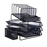 DESIGNA Mesh Desk Organizer with 3 Sliding Tray and 4 Stacking Sorter Sections with Pencil Holder, Black