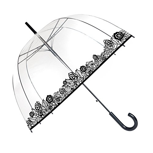 SMATI Stick Umbrella Dome Transparent - Auto Open - for Women and Kids (The Enhanced Edition Flowers lace) ()