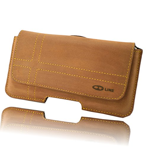 Holster für Ihr Handy Apple Iphone 6 S 4,7 Zoll Gürteltasche Quertasche und Schlaufe mit Clip Slim Design Case Echt Ledertasche Hülle Handytasche von OrLine in Braun mit Magnetverschluss Handgefertigt