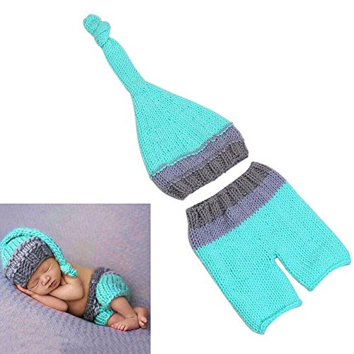 Cute Newborn Baby Girl Boy Crochet Knit Hat Costume Photography Prop Outfit Set