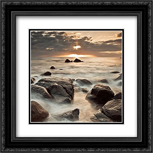 Midnight Sunrise 2x Matted 20x20 Black Ornate Framed Art Print by Frank, (Assaf Frank)