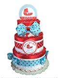Sweet Baby- Red and Blue Polka Dot Baby Shower Diaper Cake (3 Tier)