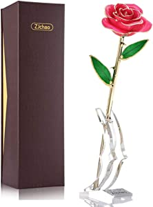 ZJchao 24K Pink Rose for Her, Dipped Gold Rose Eternity Love Real Golden Plated Preserved Forever Flower with Rose Stand Present for Wife/Girlfriend/Daughter (Pink)