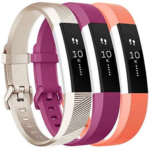 Vancle Bands Replacement for Fitbit Alta HR and Fitbit Alta (3 Pack), Newest Sport Replacement Wristbands with Secure Metal Buckle for Fitbit Alta HR/Fitbit Alta (Champagne Fuchsia Coral, Small)