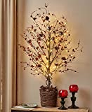 39'' Lighted Half Tree country berries Fits Flat Wall home decor floral autumn