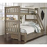 NE Kids Highlands Harper Twin Over Full Bunk with Trundle in Driftwood For Sale