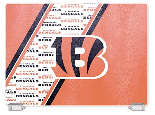 NFL Cincinnati Bengals Tempered Glass Cutting Board with Display Stand -