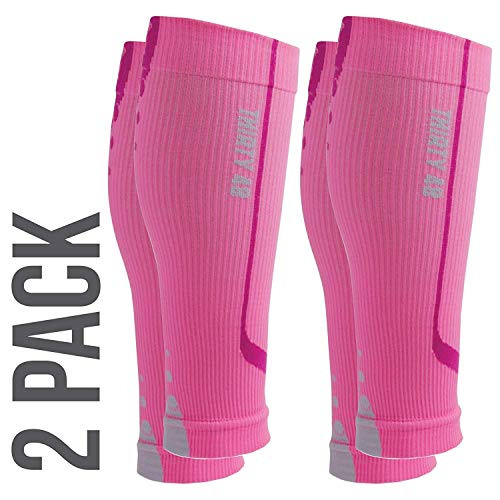 Graduated Calf Compression Sleeves by Thirty48 | 15-20 OR 20-30 mmHg | Maximize Faster Recovery by Increasing Oxygen to Muscles (Medium // 15.7-17 Inch Upper Calf, [2 Pairs] Pink) ()
