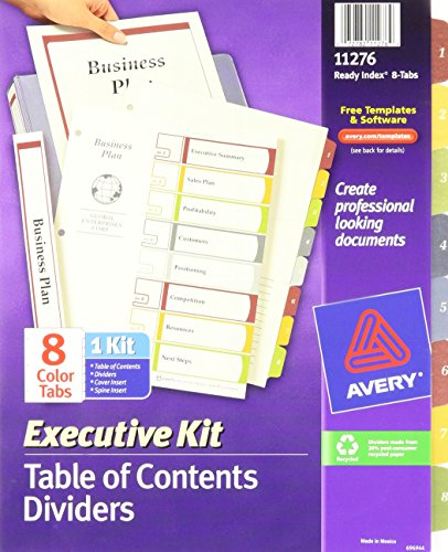 Avery Executive Ready Index Table/Contents Dividers, 8-Tab, 1-8, Letter Size, Assorted, 8 per Set (11276) by Avery