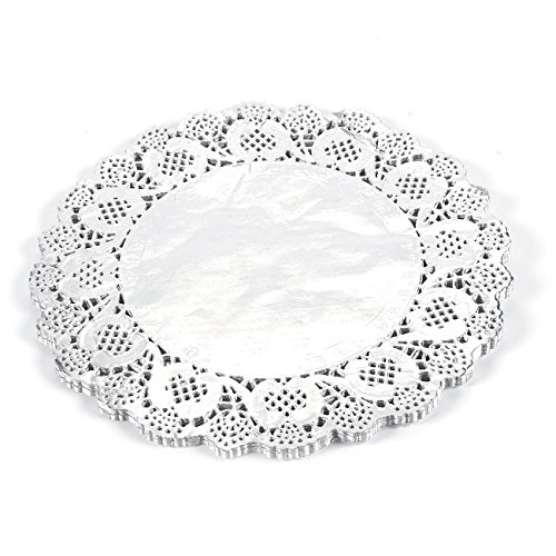Foil Doilies (Paper Doilies – 60-Count Round Lace Placemats for Cakes, Desserts, Baked Treat Display, Circular Foil Doilies, Ideal for Weddings, Tableware Décor, Silver- 12 Inches in Diameter)