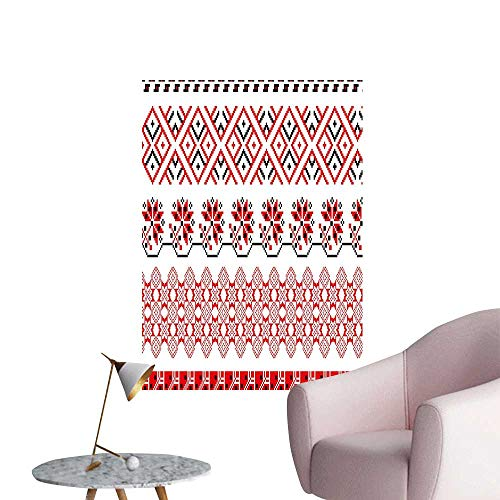 Vinyl Wall Stickers Ukrainian Borders Lace Like Tile Vintage Graphic Print Red Black Perfectly Decorated,24