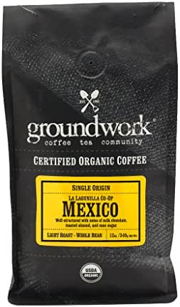 Groundwork Organic Single Origin Whole Bean Light Roast coffee, Mexico, 12 oz Bag