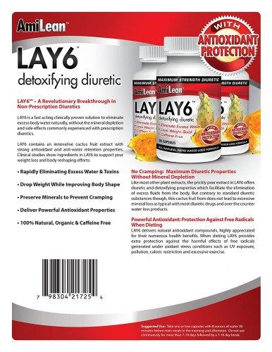 Détoxifiant diurétique Lay6 eau pilule sans caféine