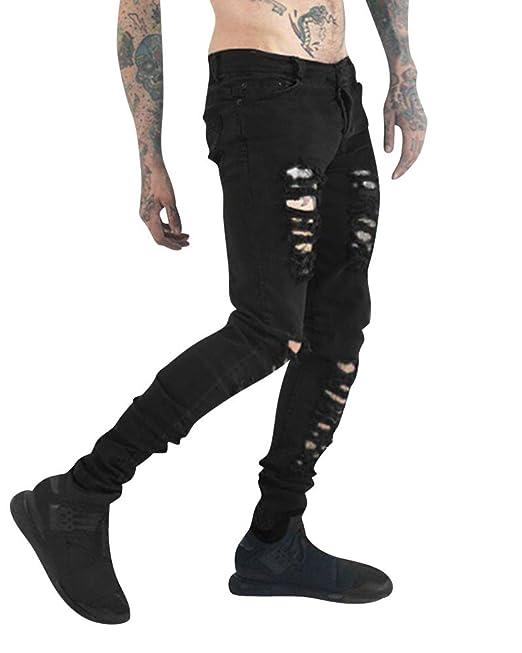Hombre Destruido Desgarrar Pantalones Vaqueros Rotos Super ...