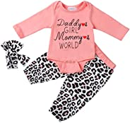 Baby Girls Clothes, Cute Girl Newborn Baby Clothes Tops + Floral Pant + Headband 3PCS Outfits Set