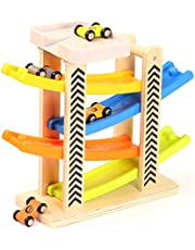 Toys of Wood Oxford Circuit Rampe Voiture - Rampe Jouet en Bois avec Parking Voiture sur Le Toit - Jeu de Course 4 Voitures en Bois - Circuit Voiture Enfant pour Garcon et Filles 1 2 3 et 4 Ans
