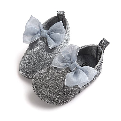 Pueri Blinblin Dorado Sandalia del bebé para los primeros pasos Zapatillas agradables adornado con lazo Forma de elástico plata