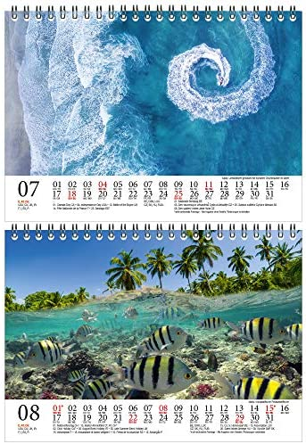 Wasserzauber DIN A5 Tischkalender für 2021 Wasser und Wasserfälle - Geschenkset Inhalt: 1x Kalender, 1x Weihnachts- und 1x Grußkarte (insgesamt 3 Teile)