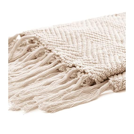 """Longhui bedding Fringe Knit Cotton Throw Blanket, 50 x 63 Inches Decorative Knitted Cover with 6 Inches Tassels, Bonus Laundry Bag - 3.12lb Weight, Couch Blankets, Cream - ELEGANT KNITTED BLANKET: Beautiful knitting is what gives our throw blanket fancy touches of detailed sophistication. The woven pattern brings a decorative element to any sofa, couch, bed, recliner or sitting bench. BIG ENOUGH FOR SNUGGLING: Measuring 50""""x63"""", the knit blanket is large enough to cover two people. Spend the night in watching Netflix beside your significant other blanketed by the warmth of this knitted throw! HEAVY WEIGHT 100% COTTON: Weighing in at 3.12 pounds, our signature knitted throw blanket is weighted to deliver unparalleled comfort. It's soft & cozy but also heavy enough to keep the chill out on cold winter days. - blankets-throws, bedroom-sheets-comforters, bedroom - 51jTKfo5lxL. SS570  -"""