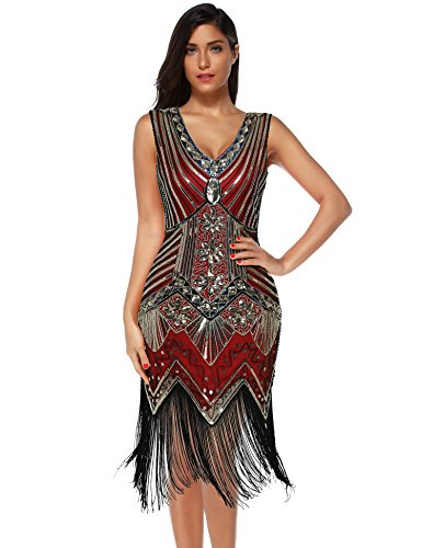Meilun 1920s Sequined Vintage Dress Beaded Gatsby Flapper